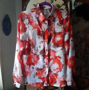 Nasty Gal Floral Cut Out Collared Blouse